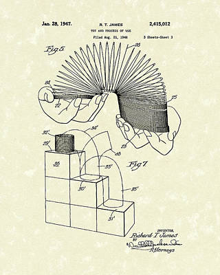 Drawing - Toy 1947 Patent Art by Prior Art Design
