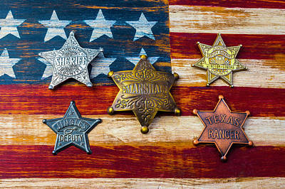 Photograph - Toy Badges On America Flag by Garry Gay