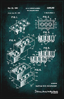 Newton Mixed Media - Toy Building Brick Patent Drawing 1c by Brian Reaves