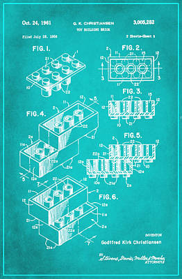 Stephen Hawking Mixed Media - Toy Building Brick Patent Drawing 1d by Brian Reaves