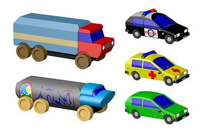 Police Car Digital Art - Toy Cars by Miroslav Nemecek