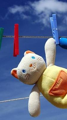 Clothespins Digital Art - Toy Cat Clothesline Dry Clothespin 11183 300x533 by Anne Pool