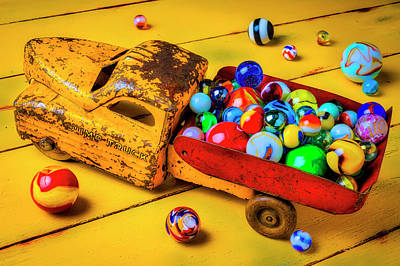 Photograph - Toy Dump Truck With Marbles by Garry Gay
