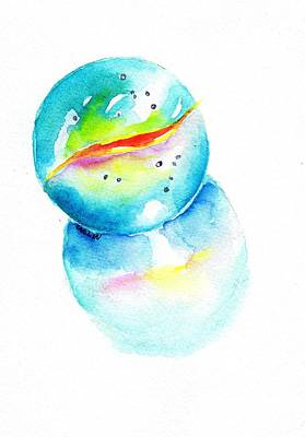 Painting - Toy Glass Marble Watercolor by Carlin Blahnik CarlinArtWatercolor