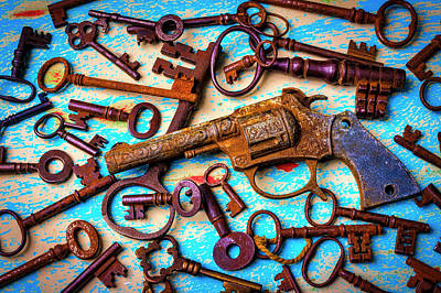 Photograph - Toy Gun And Old Keys by Garry Gay