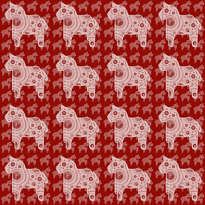 Toy Horse Pattern Art Print by Frank Tschakert
