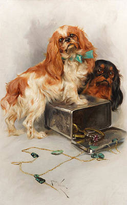 Sniffing Painting - Toy Spaniels by Arthur Wardle RI