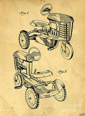Round Barn Photograph - Toy Tractor Patent Drawing by Edward Fielding