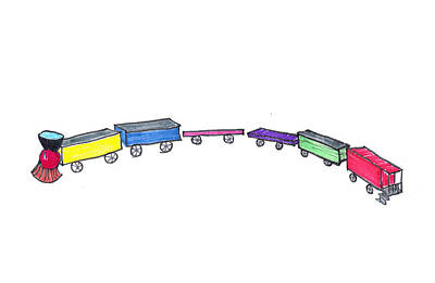 Caboose Drawing - Toy Train by Judy Hall-Folde