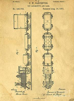 Drawing - Toy Train Original Vintage Patent Art by Edward Fielding