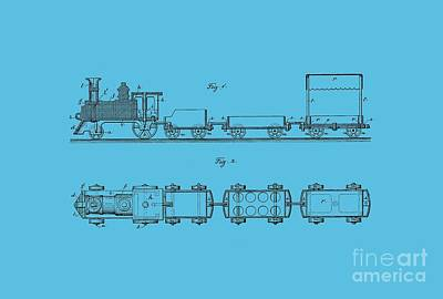 Train Drawing - Toy Train Tee by Edward Fielding