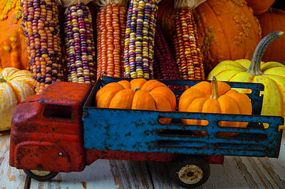 Toy Truck And Pumpkins Art Print by Garry Gay