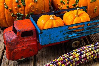 Toy Truck And Punkins Art Print by Garry Gay