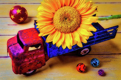 Photograph - Toy Truck And Sunflower by Garry Gay