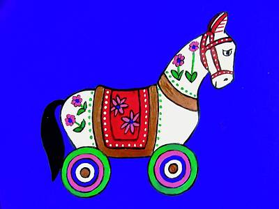 Painting - Toy Wooden Horse 2 by Stephanie Moore
