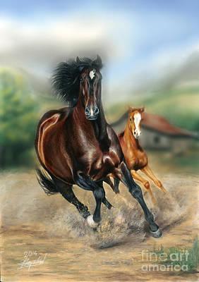 Horse Digital Art - Toying With The Kid 3d by Bretislav Stejskal