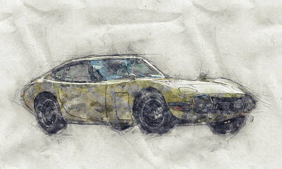 Sports Mixed Media - Toyota 2000GT 1 - Sports Car - Grand Tourer - 1967 - Automotive Art - Car Posters by Studio Grafiikka