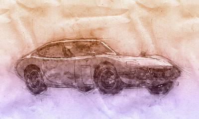 Mixed Media - Toyota 2000gt 2 - Sports Car - Grand Tourer - 1967 - Automotive Art - Car Posters by Studio Grafiikka