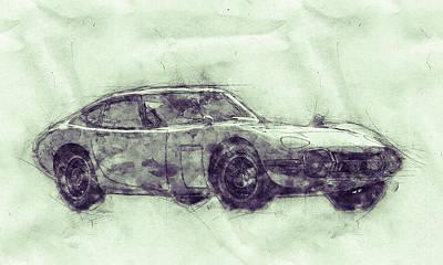 Mixed Media - Toyota 2000gt 3 - Sports Car - Grand Tourer - 1967 - Automotive Art - Car Posters by Studio Grafiikka