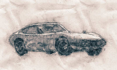 Mixed Media - Toyota 2000gt - Sports Car - Grand Tourer - 1967 - Automotive Art - Car Posters by Studio Grafiikka
