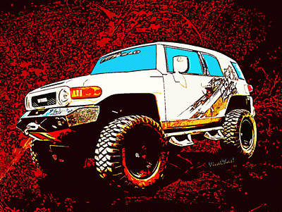 Toyota Fj Cruiser 4x4 Cartoon Panel From Vivachas Art Print