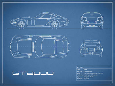 Car Photograph - Toyota Gt2000 Blueprint by Mark Rogan