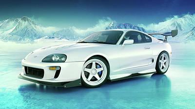 Snow Digital Art - Toyota Supra Mkiv by Marc Orphanos
