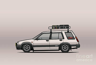 Art On Line Digital Art - Toyota Tercel Sr5 4wd Slammed Wagon Al25 White by Monkey Crisis On Mars