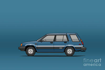 Art On Line Digital Art - Toyota Tercel Sr5 4wd Wagon Al25 Blue by Monkey Crisis On Mars