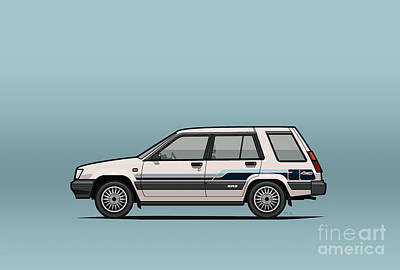 Art On Line Digital Art - Toyota Tercel Sr5 4wd Wagon Al25 White by Monkey Crisis On Mars