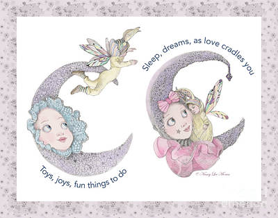 Lavender Drawing - Toys, Joys, Baby And Moon, Lavender Border by Nancy Lee Moran
