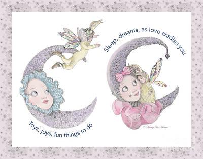 Daydreams Art Drawing - Toys, Joys, Baby And Moon, Lavender Border by Nancy Lee Moran