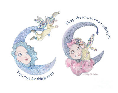 Lavender Drawing - Toys, Joys, Baby And Moon by Nancy Lee Moran