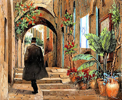 Painting Rights Managed Images - tra i vicoli a Jaffa Royalty-Free Image by Guido Borelli