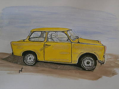 Headlight Drawing - Trabant by Maria Woithofer