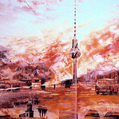 Berlin Mixed Media - Trabbis Through Berlin And Alex by Nica Art Studio