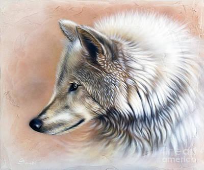 Wolf Portrait Painting - Trace IIi by Sandi Baker