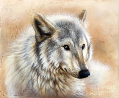 Wolf Portrait Painting - Trace by Sandi Baker