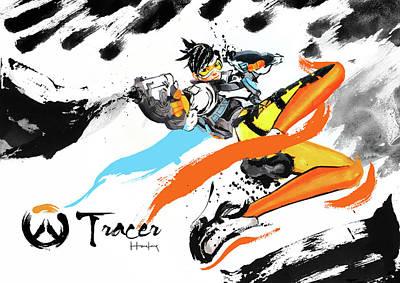 Tracer Overwatch Art Print by Haze Long