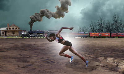 Train Mixed Media - Track And Field by Marvin Blaine