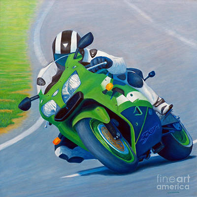 Motorcycle Racing Painting - Track Day - Kawasaki Zx9 by Brian  Commerford