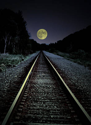 Full Moon Photograph - Track To The Moon by Emily Stauring