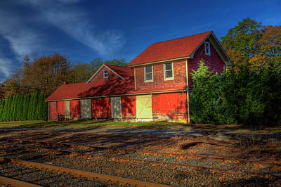 Photograph - Tracks And Red Barn by Steve Gravano