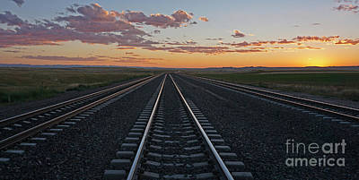 Photograph - Tracks Into Sunset by Bill Gabbert