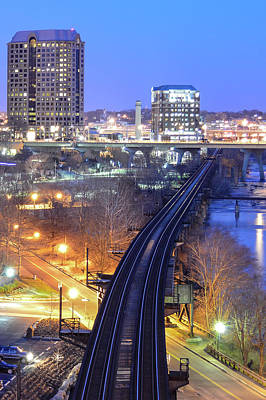 Photograph - Tracks Into The City Color by Aaron Dishner