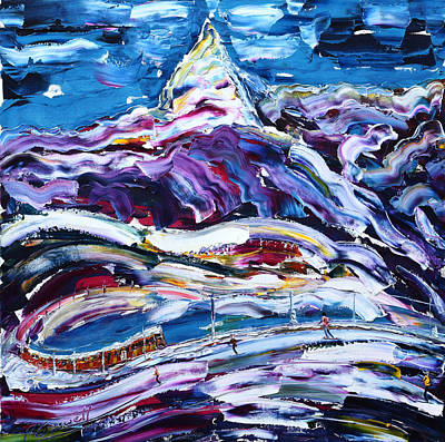 Painting - Tracks On The Matterhorn by Pete Caswell