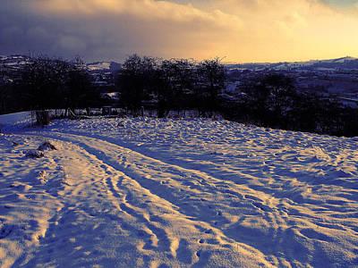 Tracks On The Snow. Powys Art Print