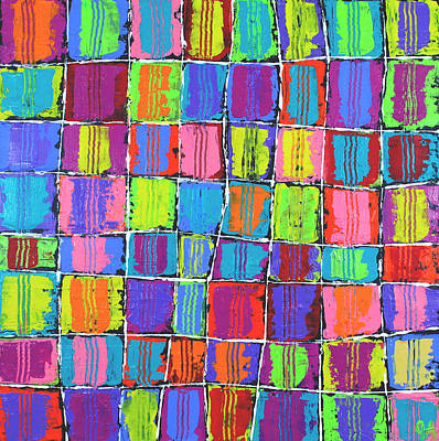 Painting - Tracks Over Squares by Jeremy Aiyadurai