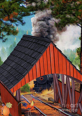 Covered Bridge Painting - Tracks Running Through The Red Covered Bridge  by L Wright