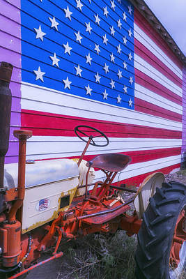 United States Of America Photograph - Tractor And Large Flag by Garry Gay